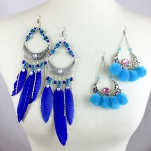 Wild Gypsy Statement Earrings Dangle Feathers Poms